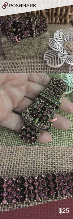 "Purple Crystal Buckle Bracelet This is so cute!  Purple Austrian Crystals in brass tone metal, fully functioning Buckle plus stretch!  Will easily fit 6.5 to 8"" wrist. Fun piece!  New with tags. Z45 Jewelry Bracelets"