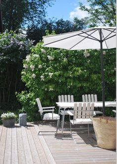 Contemporary patio with Grythyttan dining set, Sweden.