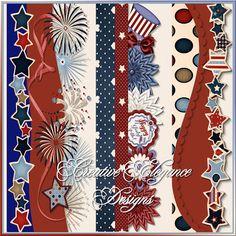 Scrapbooking TammyTags -- TT - Designer - Creative Elegance Designs, TT - Item - Border, TT - Style - Cluster, TT - Theme - Patriotic or July 4th