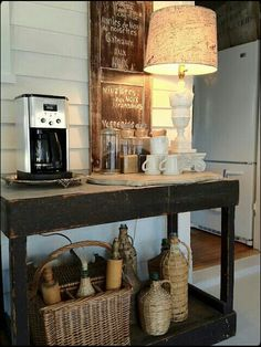Casual & rustic coffee station. Dig it.