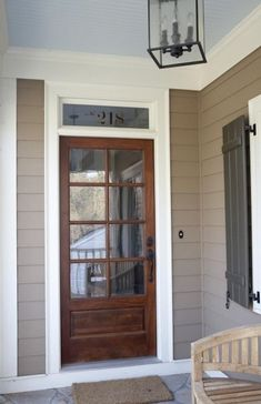 Country Front Door With Glass Panel Door, Transom Window, Exterior Stone  Floors