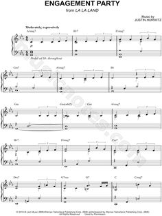 Print and download Engagement Party sheet music from La La Land arranged for Piano. Instrumental Solo, and Piano/Chords in Eb Major.