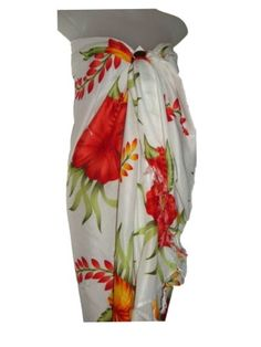 Sheer Sarong PINK SWIRL FLORAL Hawaii Pareo Cover-up Cruise Wrap Skirt Dress