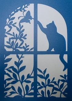 Cat Window Stencil Stencil is about 5 x 7 inches ** Please note that if I advised otherwise all stencils are cut automatically from Mylar ** STENCIL MATERIALS. I have 2 different weights stencil mater Stencil Patterns, Stencil Designs, Kirigami, Silhouette Chat, Stencils, Paper Art, Paper Crafts, Cat Window, Scroll Saw Patterns
