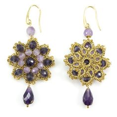 These handmade crochet earrings embellished with amethyst were handmade in Sicily, Italy. The talented woman designer, Alessandra Di Pietro, uses locally crocheted elements to make splendid creations.