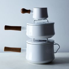 Kobenstyle Saucepan - stackable enamel pans and the lids double as trivets.