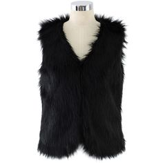 Chicwish Chicwish Faux Fur Vest in Black ($47) ❤ liked on Polyvore featuring outerwear, vests, black, fake fur vests, vest waistcoat, faux fur vests and faux fur waistcoat