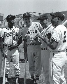 Hall of Fame dream team:  from left, Hank Aaron, Ted Williams, Stan Musial, and Willie Mays