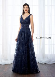 Cameron Blake 217645 Sleeveless sequin and tulle a-line gown with front and back v-necklines, hand-beaded wide natural waistband, sweep train. - Mother of the Bride Dresses - Cameron Blake 217645 Sleeveless sequin and tulle a-line gown with front and back Mother Of Groom Dresses, Mothers Dresses, Mother Of The Bride, Mob Dresses, Bridesmaid Dresses, Cameron Blake, A Line Gown, Bride Gowns, Occasion Dresses