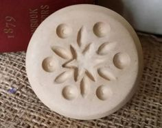 Snowflake Flower Butter Stamp Cookie Press Soap Candle Stoneware Ceramic Primitive