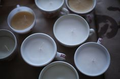 handmade candles using thrifted teacups from soulemama. Soulemama's blog is fantastic and her pictures are just gorgeous!