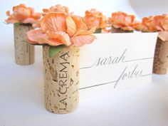 Items similar to Orange Peach Weddings Table Settings Name Card Holders Recycled Upcycled Unique Wine Corks Includes Blank Name Cards, Set of 10 on Etsy Cork Place Cards, Name Place Cards, Wedding Place Cards, Wedding Wishes, Our Wedding, Dream Wedding, Place Names, Wedding Parties, Wedding Ideas