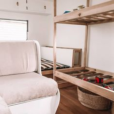 How to build bunk beds for your caravan — The Casa Collective. Caravan Bunk Beds, Diy Caravan, Caravan Renovation Diy, Bunk Beds Built In, Building, Reno Ideas, Campervan, Furniture, Design