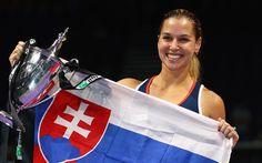 Download wallpapers Dominika Cibulkova, Tennis, WTA, Slovakian tennis player, flag of Slovakia, Slovak flag