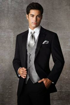 Black Two buttons Notch Lapel Groom Tuxedos Groomsmen Men Wedding Suits Prom Clothing/custom groom suit /free shipping-in Suits from Apparel