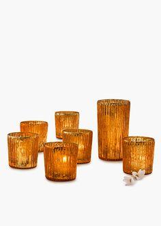 Antique Copper Ribbed Votive Holders | Jamali Floral & Garden Supplies