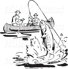 Clip Art of a Retro Black and White Men Fishing in a Boat, a Fish ...