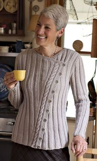 """Pattern Description from Interweave Knits: """"Simple ribs and a cable panel placed in an offbeat arrangement make a strong statement in this asymmetrical cardigan. Just as in modern jazz, elements break away from their predictable pathways, but together they form a coherent design. Deborah found it a challenge to place the cable on the diagonal, but, in the end, she liked the visual surprise of the strong slanting line. The wide ribs on the body pull in for a close-fitting silhouette. The left…"""