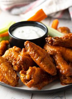 Crispy Baked Buffalo Wings Recipe: Learn How to Make the BEST Baked Chicken Wings in the Oven! This Hot Wings Recipe + Sauce is SO delicious! Baked Hot Wings Recipe, Best Baked Chicken Wings, Crispy Chicken Wings, Hot Wing Sauces, Chicken Wing Sauces, Chicken Wing Recipes, Grilling Chicken, Chicken Meals, Baked Buffalo Wings
