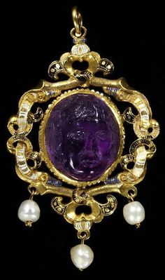 England, Britain (possibly, made) Date:ca. 1550-1560 (made) Artist/Maker:unknown (production) Materials and Techniques:Amethyst, mounted in enamelled gold, and hung with pearls