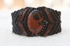 Big Brown Opsidian mens or arm macrame bracelet via Etsy