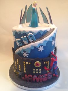 Frozen's elsa meets Spiderman for a joint birthday cake