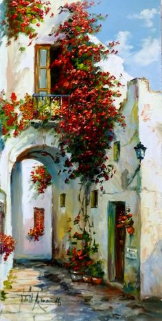 Watercolor Architecture, Watercolor Landscape, Landscape Art, Watercolor Flowers, Landscape Paintings, Watercolor Paintings, Greece Painting, Art Mignon, Painting Inspiration