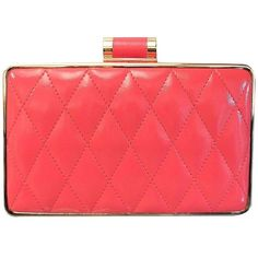 Sondra Roberts Quilted Box Clutch ($98) ❤ liked on Polyvore featuring bags, handbags, clutches, coral, red purse, box clutch, coral handbag, sondra roberts clutches and red clutches