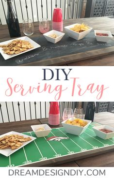 Make an easy DIY serving tray great for parties. No saw needed.This DIY Serving Tray is multi purpose and is perfect for hosting parties! One side is perfect for football parties and of course Super Bowl. Scrap Wood Projects, Cool Diy Projects, Wooden Serving Trays, Wood Tray, Chalkboard Paint, Wooden Diy, Diy Painting, Diy Design, Easy Diy
