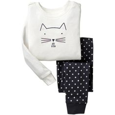 Gap Kitten Sleep Set - off white ($11) ❤ liked on Polyvore featuring baby, baby clothes, girls and kids