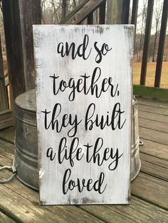 And so together they built a life they loved FARMHOUSE RUSTIC COUNTRY wooden sign homr decor Rustic Home Decor built Country Decor Farmhouse homr life loved Rustic Sign Wooden Home Decor Rustic Country, Diy Rustic Decor, Country Style Homes, Country Charm, French Country, Wooden Decor, Country Life, Rustic Vintage Decor, Primitive Country