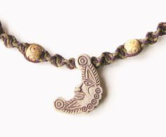 Hemp Necklace, Moon Pendant - high fired ceramic pendant, sage and plum hemp, soapstone & bone beads - hippie necklace, macrame necklace - Liminal Horizons - liminalhorizons