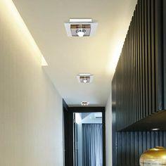 Modern Stainless Steel LED Ceiling Light Aisle Corridor Crystal Lamp