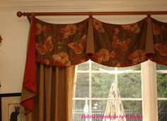 Button accents on tabbed Oxford Valance by Fabric Creations.