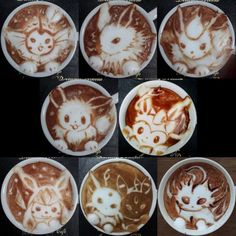 Eevee Evolutions Latte Art. Good thing I don't like coffee! They're too pretty to drink!!