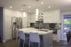 Réalisations-cuisine Kitchen Reno, Kitchen Backsplash, Kitchen Remodel, Kitchen Design, Condo Decorating, Kitchen Drawers, Dream Decor, Kitchen Furniture, Home Kitchens