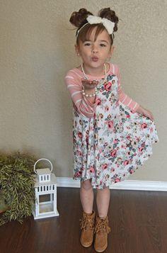 Little Girls Floral Dress, Ryleigh Rue Clothing, Online shopping, Online boutique, floral dress, dress,  fashion, ryleigh rue, boutique, kids clothing, Striped Sleeve Dress
