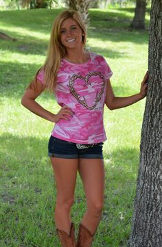 Pink Camouflage heart antler sporty girl shirt