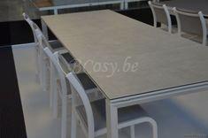Gescova Azur Bettini Table de repas jardin Rectangulaire Extensible-escamotable Aluminium Blanc Rallonge plateau en céramique Blanc mixte 220-280