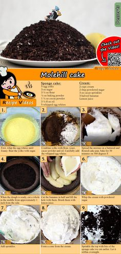 The Molehill cake is a special cake with chocolate and bananas! Try it! You can easily find the recipe by scanning the QR code in the top right corner! :) #MolehillCake #Cake #Cakes #Dessert #Recipe #Food #Easy #RecipeVideos