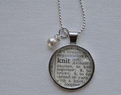 Vintage Dictionary Word Necklace Pendant KNIT by www.kraftykash.net $21.00 #handmade #jewelry