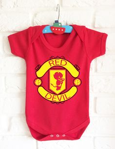 ac190e379 Baby s Manchester United Red Devil babygrow. Very cute! by  MumKnowsBabyGrows on Etsy Babies Stuff