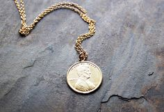 Lucky Penny Necklace  Minimalist Charm Necklace by SketchLines in vermeil & 14k gold fill