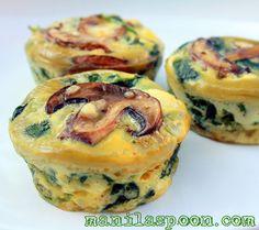 Spinach Quiche Cups...mushrooms, spinach, eggs, cheese, evo, half n half, salt & pepper 375F 12 muffin cups 20-23 minutes
