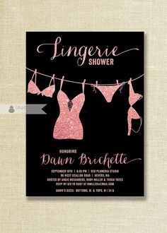 pink black lingerie shower invitation pink glitter blush pink bold black modern bridal personal