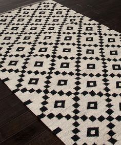 Scandinavia Nordic Antique White & Ebony Flat Weave Rug - Rugs - Geometric