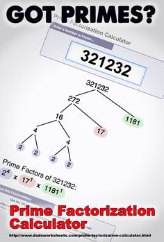 Use this factorization calculator to produce a factor tree, or just determine the list of primes that divide a given integer. It'll even tell you if a particular number is prime or not! Sequencing Worksheets, Free Printable Math Worksheets, Free Printables, Greatest Common Factors, Prime Factorization, Prime Numbers, Primary Lessons, Math Lessons, Math Tutor