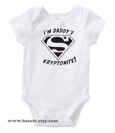I'm Daddy's Kryptonite Inspired By Superman Cute by bareit on Etsy. $14.00, via Etsy. #babyclothes