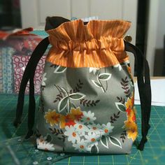 Lined drawstring bags with link to pattern.