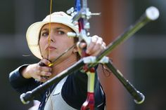 Jennifer Nichols of the United States competes in the Women's Team Archery Quarter Final between China and United States.
